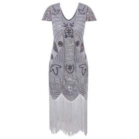 VIJIv 1920年代ギャツビー風フラッパードレスwith Sleevesスパンコールアールデコカクテルドレス US サイズ: L カラー: グレー