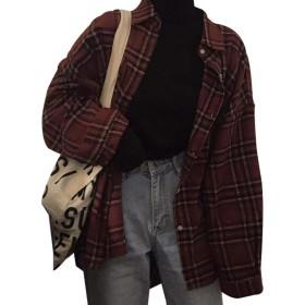 YULUOレディース カジュアル 素晴らしい チェックシャツ ロング チェックシャツ ジャケット春 生徒 長袖 シャツ