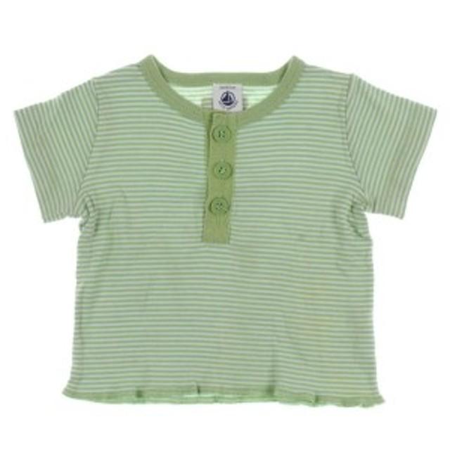 PETIT BATEAU  / プチバトー キッズ Tシャツ・カットソー 色:緑系(ボーダー) サイズ:6M
