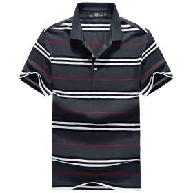 LANSI(レンシー)ポロシャツ 半袖 ゴルフウェア ボーダー スポーツウェア 綿 シャツ 吸汗速乾 カジュアル シャツ ボタンダウン ファッション メンズ blueXL
