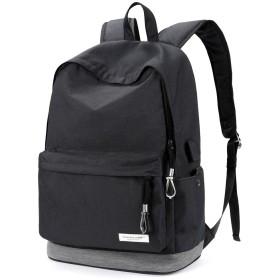 ZZINNA リュックサック 高校生 バックパック 大容量 リュック 通学 メンズ おしゃれ usbポート 人気 バッグ 15.6インチPCリュック ブラック