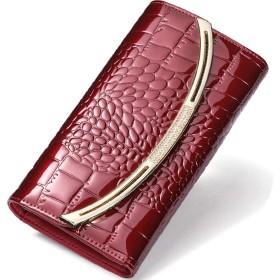 [MIKA&MAYA] 財布 レディース 長財布 本革 大容量 クロコダイル 柄 二つ折り 小銭入れ (レッド)
