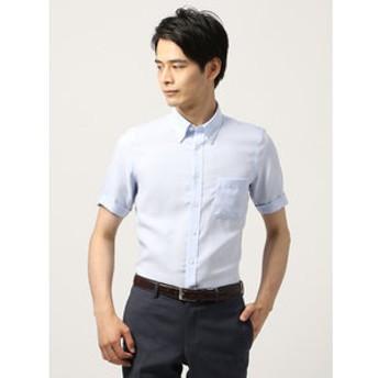 【THE SUIT COMPANY:トップス】【半袖・ICE COTTON】ボタンダウンカラードレスシャツ 織柄 〔EC・FIT〕