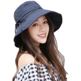 JOMISS UVカット 帽子 レディース 日よけ 帽子 レディース つば広 ハット日よけ 折りたたみ 軽量 無地 洗える 紫外線対策 ハット カジュアル 旅行用 日よけ 夏季 女優帽 小顔効果抜群 (ネイビー)