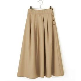 [ベリータジェーピー] VERITAJP f9t サイドボタンスカート フレアスカート リネン風 ミモレ (ベージュ)