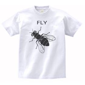 【ノーブランド品】 おもしろ デザイン FLY 蝿 ハエ Tシャツ 白 MLサイズ (L)