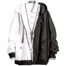 [ベィジャン] メンズ アウター ジャケット かっこいい ストリート ゆるシルエット カジュアル 秋冬 通勤 通学 切り替え 大きいサイズ ブラックXL