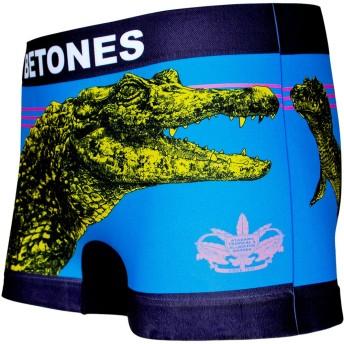 BETONES (ビトーンズ) メンズ ボクサーパンツ BANANA WANI BLUE dwearsステッカー入り ローライズ アンダーウェア ボーダー ブランド 男性 下着 誕生日 プレゼント <バナナワニ ブルー フリーサイズ>