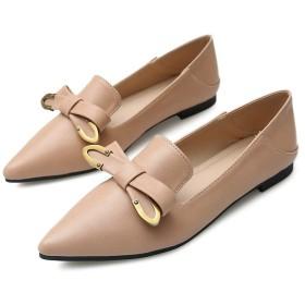 [MerryCo] ポインテッドトゥ パンプス ぺたんこ靴 リボン付き レディース 金具 メタル ローヒール フラットシューズ 婦人靴 ママさん 妊婦 美脚効果 カジュアル フォーマル 痛くない かかとが踏める 大きいサイズ 黒 白