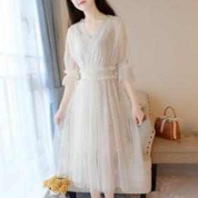 ロング ドレス ワンピース レディース 大きいサイズ マタニティ 結婚式 袖あり Aライン ハイウエスト 黒 白