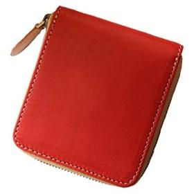 経年変化を楽しもう 最高峰栃木レザーの二つ折り財布 使い易いラウンドファスナー (レッド)