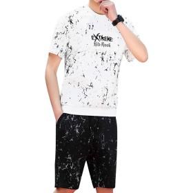 BANKIKU(バンキク) メンズ 上下セット スウェット ジャージ セットアップ 半袖 パーカー トレーナー ショートパンツ おしゃれ ペイント スポーツウェア 赤 黒 白 夏 M-8XL