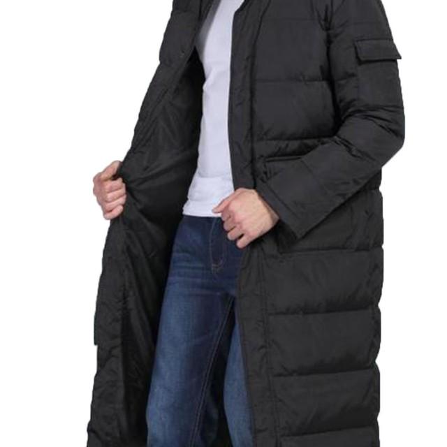 (ニカ)メンズ ダウンジャケット 冬 ロング丈 中綿 コート 軽量 ダウンブルゾン ファッション ダウン ジャケットブラックT1