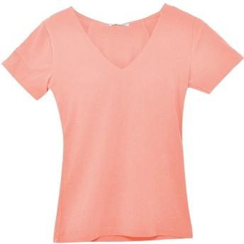 (パークガール)PARK GIRL シームレス無地カップ付き半袖VネックTシャツ レディース 大きいサイズ M/L/LL 5657000000 (L, ピーチ)