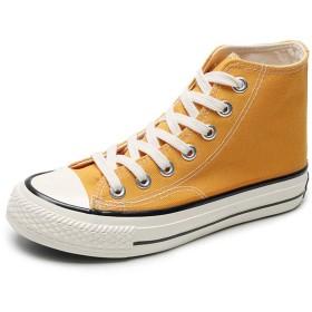 [JPバレンタインデー] ズック靴 布靴 フラットシューズ レディース メンズ カップル靴 スニーカー キャンバス ローカット 男女兼用 カジュアル 韓国ファション 防臭 防滑 身長アップ 10色10サイズ展開 (35, イエロー1)