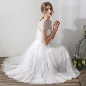 ウェディングドレス 白 二次会 花嫁 ウェディングドレス ミモレ丈 袖あり 大きいサイズ キャミソール 刺繍 レース シンプル ボレロ