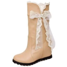(ウンファッション) WeenFashion レディース クローズドトゥ ハイヒール PUの皮 ショート 雑色 ブーツ AMGXX019567 24.0cm 杏色
