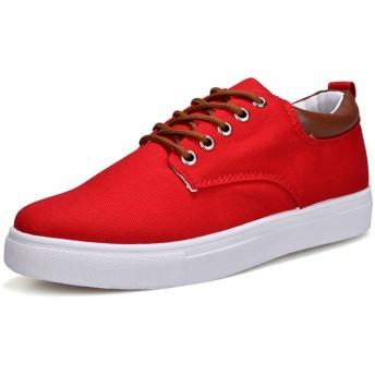 [トンデムン] メンズ 軽量 無地 ズック靴 スニーカー カジュアル キャンバスシューズ 日常着用 6色 大きいサイズ (26.0cm, レッド)