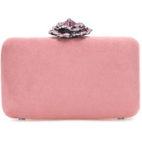 Bonjanvye 女性のためのクリスタルローズカクテル財布ブルゴーニュベルベットクラッチ ピンク