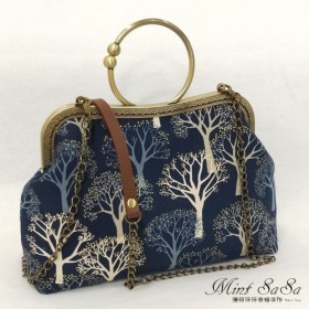 MintSaSa 黄金の森の口の金の袋はチェーンの手縫いのための日本の花布の厚い裏地のコットンバッグハンドバッグサイドバッグ古