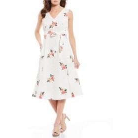カルバンクライン レディース ワンピース トップス Eyelet Embroidered Floral V-Neck Midi Dress White Multi