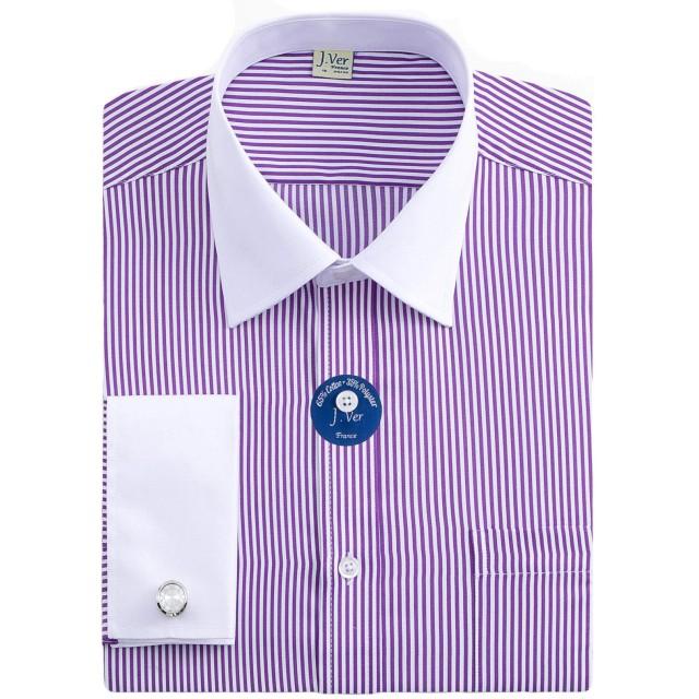 J.VER メンズワイシャツ 長袖 ダブルカフノーマルサイズ金属 カフスボタン