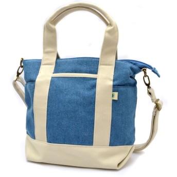 (Uyunii) キャンバストートバッグ ミニサイズ ファスナー付き 2way ワンサイズ スカイアイボリー