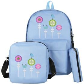 Aijoo 斜めかけ肩掛け かわいい 花柄 人気 スパンコール ラッチ チェーン レトロ手袋財布 トートバッグ ビジネスバッグ 2way かばん 大容量3セット (青い)