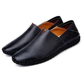 メンズ ドライビングシューズ ローファー スリッポン モカシン シューズ カジュアル 24.5cm デッキシューズ 紳士靴 防滑 軽量 大きいサイズ 通気 革靴 歩きやすい 柔らかい 快適 滑り止め ブラック 靴ひもなし 通勤 カジュアルシューズ