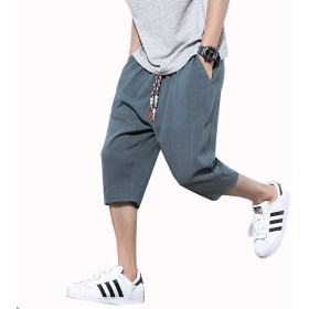 RanSy サルエルパンツ メンズ ズボン 袴パンツ ワイドパンツ サルエル ファッション 麻 七分丈 短パン ショートパンツ カジュアル 夏 無地 調整紐 ゆったり 通気性 大きいサイズ ゆったり 墨绿 4XL