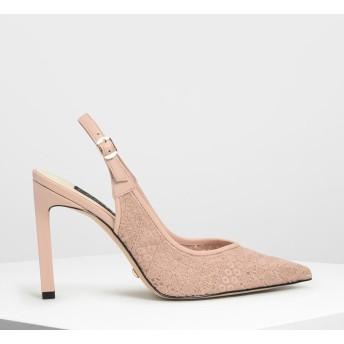 クロシェットレザー ポインテッドヒール / Crochet Leather Pointed Heels (Nude)