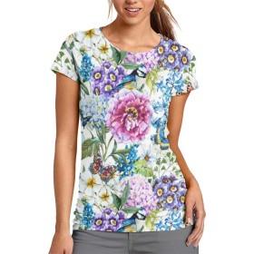 色々な花 レディース 半袖 プリント Tシャツ 丸首 薄手 夏 セクション のファッション 個性 トップス