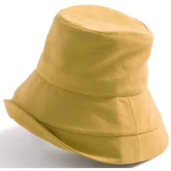 クイーンヘッド UVカット 帽子 綿ポリブリムUVハット 小顔 ハット レディース 大きいサイズ つば広 紫外線カット 女優帽【BIG 61-63cm-マスタード】