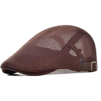 オール メッシュ ハンチング メンズ レディース 夏用 ハンチング 帽子 メッシュ ワークキャップ BDMZ124 (ブラウン)