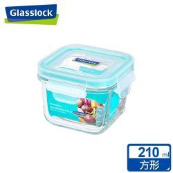 【Glasslock】 強化玻璃微波保鮮盒-方形210ml