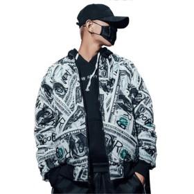 [ユリカー] メンズ 綿服 ジャケット コート 両面着 アウター トップス 秋冬 プリント カジュアル 個性 大きいサイズ ストリート かっこいい 写真通りXL
