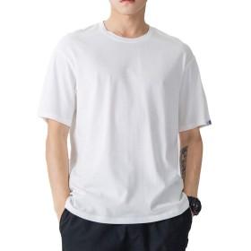 メンズ tシャツ 半袖 夏服 コットン 大きいサイズ 無地 メリヤス 丸首 速乾 吸汗性 柔らかい 通気性抜群 (ホワイト, XL)
