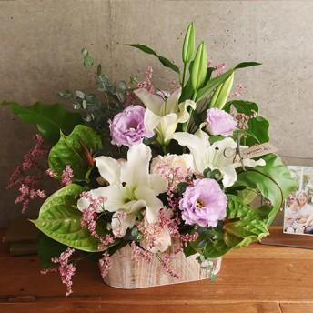 【日比谷花壇】【お供え用】O・SO・NA・E flower 「8月のウッドボックスアレンジメント」