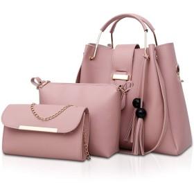 NICOLE&DORIS ハンドバッグ レディース タッセル付き ショルダーバッグ 化粧ポーチ 3点セット 親子バッグ 3ピース かわいい プレゼント 防水 PUレザー ピンク