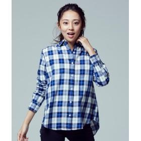 Levi's バックデザインチェックシャツ レディース ホワイト*ブルー