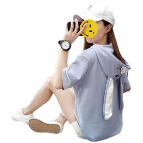 [バンプー] レディース 半袖 パーカー フード付き トレーナー トップス スウェット tシャツ 日系 森ガール カジュアル かわいい おおきいサイズ おもしろ シンプル ブルー2XL