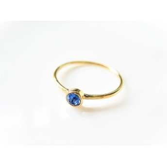Swarovski Crystal Sapphire Simple Gold Ring