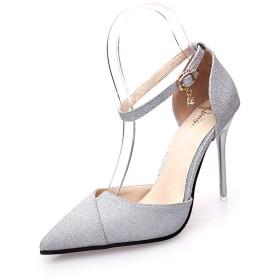 [チェリーレッド] レレディース パンプス ハイヒール ベルト付き ストラップ ポインテッドトゥ 歩きやすい きらきら 結婚式 39 シルバー