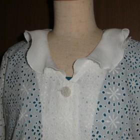 夏の織り・エレガントなコットン花刺繍レースにリネンの花びら襟ジャケット