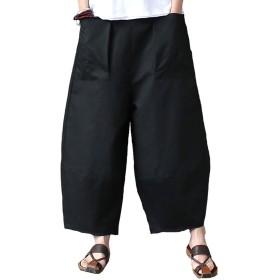Aeneontrue レディース ロングパンツ ワイドパンツ ゆったり 無地 リネン カジュアル パッチワーク加工 ウェストゴム 大きいポケット パンツ おしゃれ ズボン 黒 XL