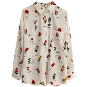 シャツ 花柄 長袖 レディース