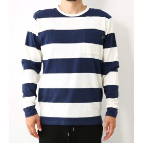 (ロデオクラウンズ ワイドボウル) RODEO CROWNS WIDE BOWL ワイド ボーダー ロングスリーブ Tシャツ メンズ 柄ネイビー XL