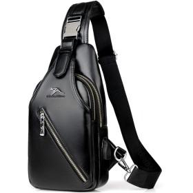 ボディバッグ メンズ ショルダーバッグ ワンショルダーバッグ 斜め掛け かばん携帯充電 軽量 撥水 メンズ USBポート イヤホンポート#8809 (ブラック)