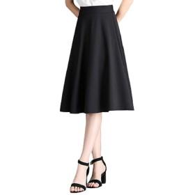 (ロンショップ)R.O.N shop ミディ丈 Aライン フレア スカート 上品 フェミニン ふんわり ひざ丈 膝丈 ハイウエスト (ブラック,XL)