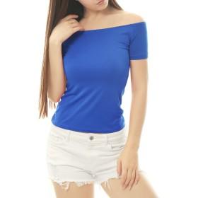 Allegra K オフショルダー トップス tシャツ カットソー 肩だし 着痩せ 半袖 無地 セクシー レディース ブルー XL